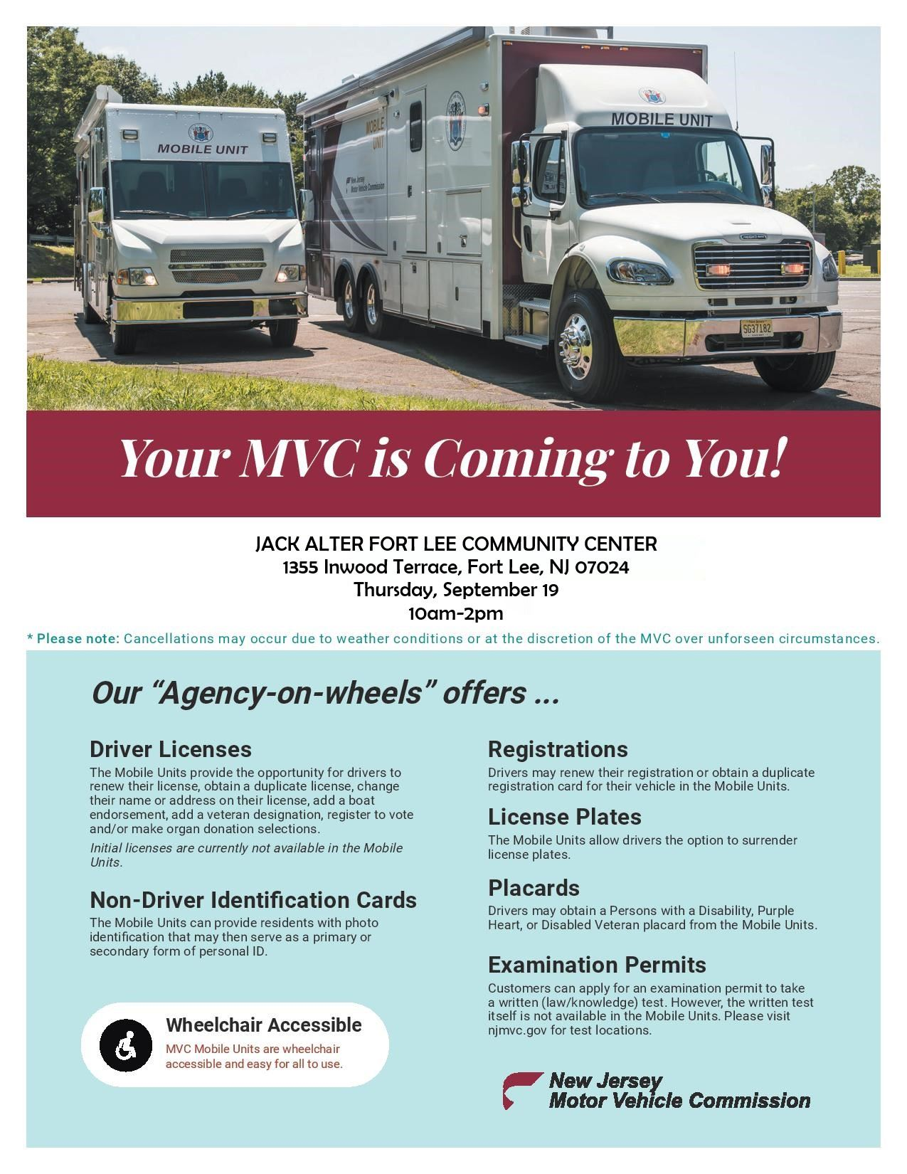 MVC on Wheels Flyer - Fort Lee 2019
